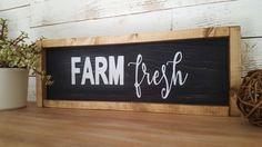Farm Fresh wood framed sign by HomeofTreChic on Etsy https://www.etsy.com/listing/468629852/farm-fresh-wood-framed-sign