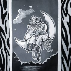 "Polubienia: 58, komentarze: 2 – Joanna (@jamjestjoanna) na Instagramie: ""#couple#project#tattoo#neverending#love#death#moon#polishgirl#design#stars#graphic#vintage#style#based#on#old#photo#picoftheday#dead#skeleton"""