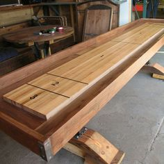 Custom Made Shuffle Board Table, Custom Made From Hardwood, Industrial Wood Shop Projects, Home Projects, Hardwood Furniture, Home Furniture, Shuffleboard Table, House Games, Custom Made Furniture, Diy Table, Dining Table