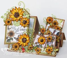 Marisa Job - Heartfelt Creations Spread Your Wings Sunflowers Side Step Card Instructions for card and a link for how to make the side step card base also