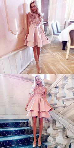 48a5a7eb0c6c A-Line Bateau Sleeveless Blush Short Homecoming Dress with Appliques