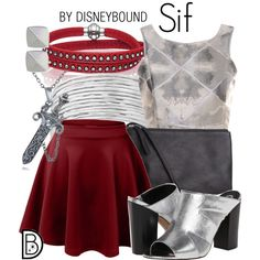 Sif by leslieakay on Polyvore featuring Glamorous, Circus By Sam Edelman, Pieces, Lucky Brand, Vince Camuto, disney, disneybound and disneycharacter