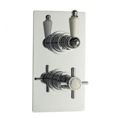 Traditional Dual Control Concealed Thermostatic Shower Valve. This Chrome plated Concealed Shower Valve maintains temperature stability and shuts down safely in case of cold water failure and thus avoid scalding. This fabulous shower valve is featured with diverter for two separate outlets. http://www.dealsonbathrooms.co.uk/showers/shower-valves/traditional-dual-control-concealed-thermostatic-shower-valve.html#.U0-ypvldW6M