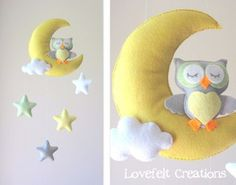 Baby mobile - Owl mobile - Crib Mobile Owl - Baby Mobile Stars by LoveFeltXoXo on Etsy Baby Crafts, Felt Crafts, Sewing Projects, Projects To Try, Felt Mobile, Mobile Mobile, Hanging Mobile, Baby Owls, Kids Room