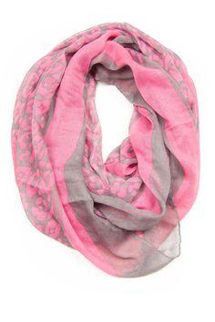 Grey Pink Infinity Scarf