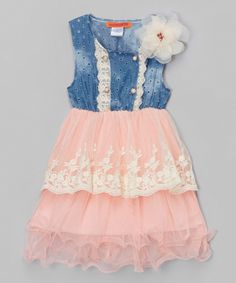 Look at this Pink & Blue Eyelet Lace Layered Dress - Toddler & Girls on #zulily today!
