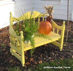 Garden Bench- made from a wooden bed frame.