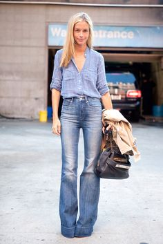 denim, chambray shirt, bell bottoms, street style, style, fashion