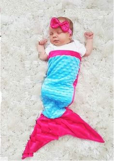 Baby Mermaid Tail for Infants 0-7 months, Pink and Teal, Minky Dot Soft by Baby BooBear Sleep Sack by BabyBooBearCo on Etsy https://www.etsy.com/listing/492896979/baby-mermaid-tail-for-infants-0-7-months