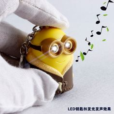 2016 Cartoon Movie Despicable Me 3 minions Led keychain talk Minions,minions with coat, led keyring with sound,Christmas gift