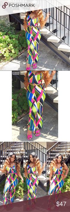 Colorful jumpsuit Very sexy multi color Padded / push up (included ) jumpsuit  ! Spaghetti straps . Stretches / shows off figure great . Gold belt not included ! Nicki minaj inspired 🌸 Pants Jumpsuits & Rompers