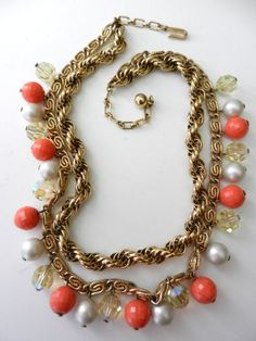 Trifari 1960  rare 2 wires necklace  pearl white by RAKcreations, $110.00