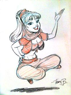 I Dream of Jeannie drawing by Tom Bancroft Cartoon Kunst, Cartoon Art, Cartoon Sketches, Art Sketches, Fantasy Kunst, Fantasy Art, I Dream Of Genie, Character Art, Character Design