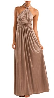 Maxi Dress W Keyhole , Taupe/ gold