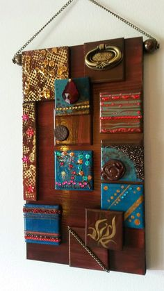 Items: Tiles, piece of shelf, paint, sequins and and.... :D