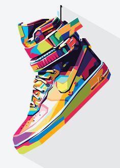 Sneakers Wallpaper, Shoes Wallpaper, Nike Air Shoes, Sneakers Nike, Illustration Pop Art, Pop Art Poster, Nike Wallpaper Iphone, Nike Poster, Basketball Shoes For Men