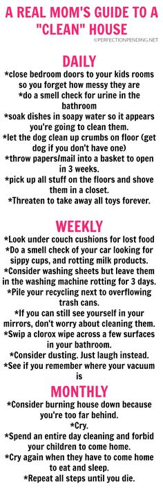 Do you want to keep your house clean? Do you need a cleaning schedule that is realistic to help you stay on top of your chores? Then look no further than this hilarious guide for moms to keep their house clean. Or at least lower our expectations. Lol So True, Mom Quotes, Funny Quotes, Kesha Quotes, Parent Quotes, House Cleaning Humor, Minions, Real Moms, Mom Humor