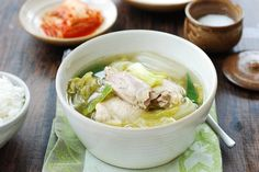 This slow cooker version of a Korean chicken soup is very easy to make! The flavorful, hearty soup is packed with tender chicken and soft napa cabbages. Korean Chicken Soup, Spicy Chicken Soup, Slow Cooker Chicken, Asian Soup, Korean Soup Recipes, Asian Recipes, Crockpot Recipes, Oriental Recipes, Dishes Recipes