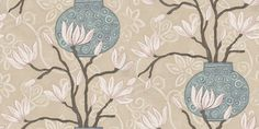 In Bloom Duckegg (346923) - Brian Yates Wallpapers - A stunning water silk effect design with bold, Chinese influenced vases in shades of duckegg blue with white magnolia blooms on an elegant cream patterned background. Other colourways are available. Please request a sample for a true colour match. Stunning brilliant colours with lustre inks. Paste the wall product. This is a special order item and may take up to 10-14 working days to arrive.