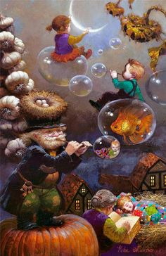 Victor Nizovtsev giclees of fables, fantasy, theatrical and imaginative art, Riding the Bubbles Cicely Mary Barker, Foto Fantasy, Fantasy Art, Victor Nizovtsev, Art Magique, Photo D Art, Holly Hobbie, Children's Book Illustration, Whimsical Art