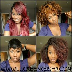 1 day. 4 looks. Hmmm, what shall I wear... As a woman, we love options don't we?!  ✔All custom wig units ✔Complete protective style ✔Snug fit and easy to wear Looks amazing! International shipping Pick me! Get yours!! Visit WWW.LUCKEBYKEISHA.COM to place your order! #LUCKEBYKEISHA #wigmaker #wigs #customwigs #virginhair #wig #laceclosure #protectyourhair #protectivestyles #wigstyles #customunit #bighair #pixiewig #pixiecut #thecutlife #REDHAIR