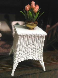 Rhea Strange, IGMA fellow - white wicker table; sold on ebay for $27