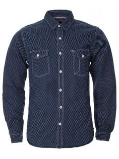 Mens Navy Flax Pattern Long Sleeve Shirt at Go Blue, Summer Essentials, Indigo, Print Patterns, Button Up Shirts, Long Sleeve Shirts, Contrast, Navy, Denim