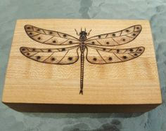 Pyrography Box flowers | Dragonfly Pyrography Woodburning on Maple Wood Box ...