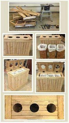 "DIY Pallet Recycling Center-Just think-Recycling to make a recycling bin! Three individual ""trash cans"" inside with three cut-outs in the lift up lid are labeled and allow you to easily sort. Placing a trash bag inside your ""cans"" allow you to easily lift & remove when full."