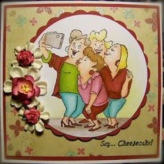 Gotta get this stamp!  -These gals could be my best friends!  I like the flowers to the side of the circle.