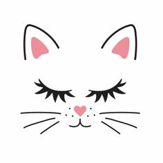 Art Drawings For Kids, Easy Drawings, Cute Cat Face, Jar Art, Cat Birthday, Cat Party, Animal Faces, Stained Glass Patterns, Rock Crafts