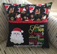 How to make a pillow or cushion with Piping attached - Sewing Method Santa, T'was the Night Before Christmas Reading Pillow has a front pocket for holding your favori Craft Tutorials, Sewing Tutorials, Sewing Crafts, Sewing Ideas, Diy Crafts, Sewing Projects, Sewing Patterns, Pillow Patterns, Pillow Ideas