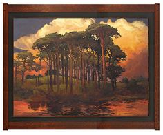 PinewoodBower by Jan Schmuckal Oil ~ 36 framed) x 48 framed) Craftsman Frames, Craftsman Style, Nature Landscape, Landscape Paintings, Arts And Crafts Movement, Impressionist Artists, Painting & Drawing, River Painting, Art Lessons