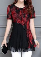 Patchwork Printed Layered Short Sleeve Blouse   Rosewe.com - USD $31.86
