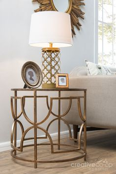 Bohemian Sofia Antique Brass Metal & Glass Round Side Table ★ Creative Co-Op Home