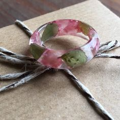 Real pink petals and rose leaf ring elegant and beautiful the perfect gift for someone special