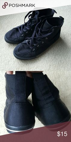 Hi-Tops Black hi-tops; gently worn; canvas with black laces Old Navy Shoes Sneakers