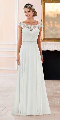 Stella York Spring 2017 off the shoulder lace back wedding dress