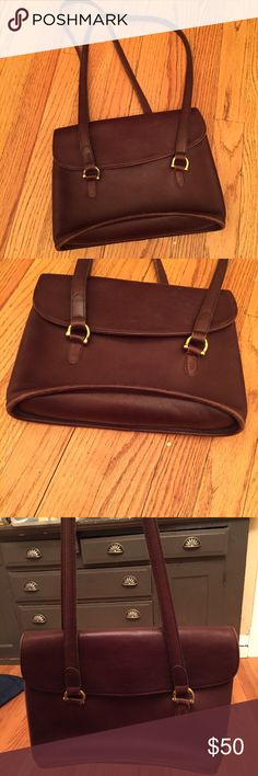 Coach vintage leather bag Chocolate Brown leather bag with double 16 inch straps back flat pocket in back like new this bag is so soft with the Coach Quality and craftsmanship Coach Bags Shoulder Bags