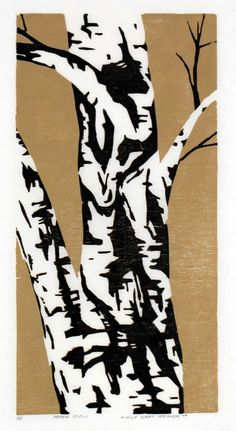 Paper Birch - Original Color-Reduction Woodcut #tree #art