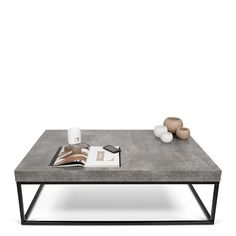 Axan Large Coffee Table, Concrete and Black | Sideboards | Dining Room