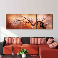 'Plum Blossom 310' Hand Painted 3-piece Gallery-wrapped Canvas Art Set