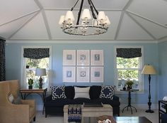 Eclectic dining room with dark blue paint color and ivory pinch-pleat silk curtains covering dining room windows. Description from decorpad.com. I searched for this on bing.com/images