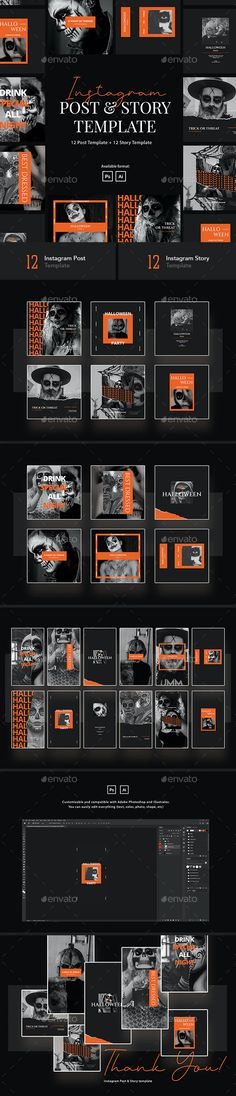 Halloween Party Instagram Post & Story Template by peterdraw | GraphicRiver Halloween Flyer, Halloween Design, Halloween Party, Halloween Stuff, Cool Instagram, Instagram Design, Instagram Posts, Social Media Template, Social Media Design
