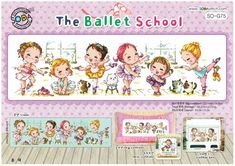 The Ballet School - - Ballet Cross Stitch Pattern Leaflet SODA Stitch - Modern Cross Stitch Chart - Kawaii - Ballet Sampler XStitch *In my Stash Counted Cross Stitch Patterns, Cross Stitch Charts, Cross Stitch Designs, School Kit, Ballet School, Chart Design, Sewing Material, Modern Cross Stitch, Le Point