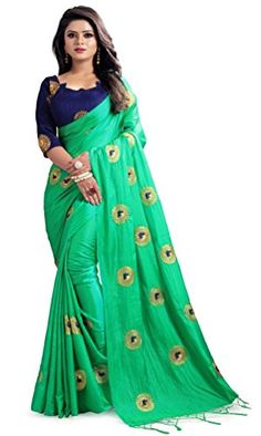 30bf1f42f4d Women s Paper Silk Embroidered Saree with Blouse Piece (Green) – Latest  Fashion Saree