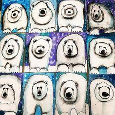 The cutest polar bears! 2nd grade guided drawing with watercolor and charcoal shading. #polarbears #polarbearart #artteacher #artroom #artteachersofinstagram #artoday #guideddrawing #blacksharpie #shading #teachingkids #winterart #fridayart