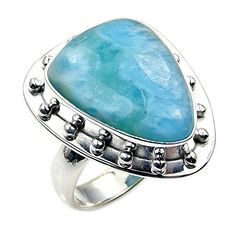 'Ocean Waves' Sterling Silver Rare Natural Dominican Larimar Ring, Size 5.75