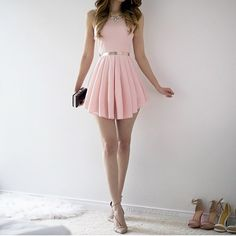 Vestidos 2016 New Women Summer Dress Casual Cute Chiffon Party Dresses O-neck Sleeveless Pink Dress Bodycon A-line Mini Dress Hoco Dresses, Satin Dresses, Pretty Dresses, Homecoming Dresses, Beautiful Dresses, Dress Outfits, Casual Dresses, Cute Outfits, Fashion Outfits