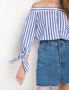 Sleeve Tie Stripe Off The Shoulder Top by New Revival #offtheshoulder